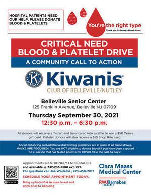 Clara Maass Medical Center, Blood Drive, Platelet Drive, Belleville Nutley Kiwanis