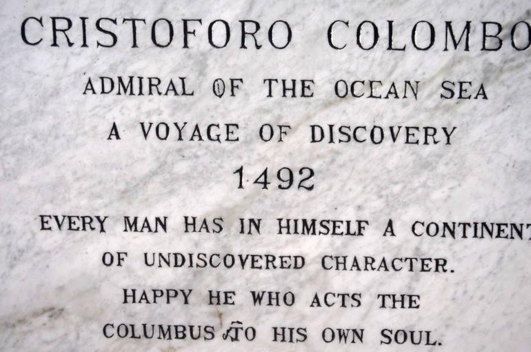Columbus plaque in Scotch Plains.