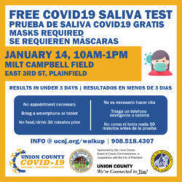 Union County Hosts Free Walk-Up COVID Tests In Linden and Plainfield