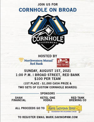 """Support Alex's Lemonade Stand to Fight Childhood Cancer – Register for Red Bank's """"Cornhole on Broad"""""""