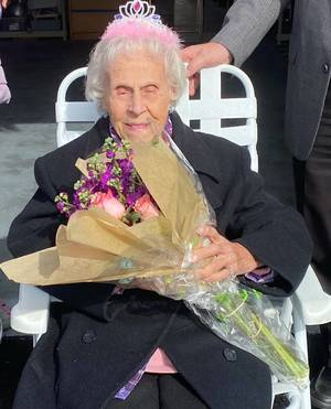 100 year old woman, car parade, Barnegat Police community officer