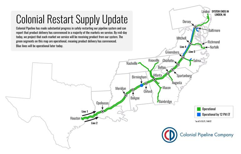 Colonial Pipeline Restarted Operation; Minimal Impact to New Jersey, Normal Delivery Rate Expected the Coming Days