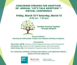 "Concerned Persons For Adoption (CPFA) to Host 38th Annual ""Let's Talk Adoption"" Conference – To Be Held Virtually – Friday, March 12 & Saturday, March 13 from 9:00 am – 1:30 pm"