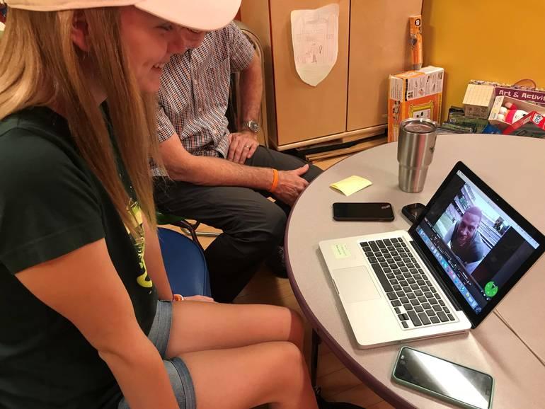 Anna Meeting NY Jets Player Morris Claiborne via the VGo Robot