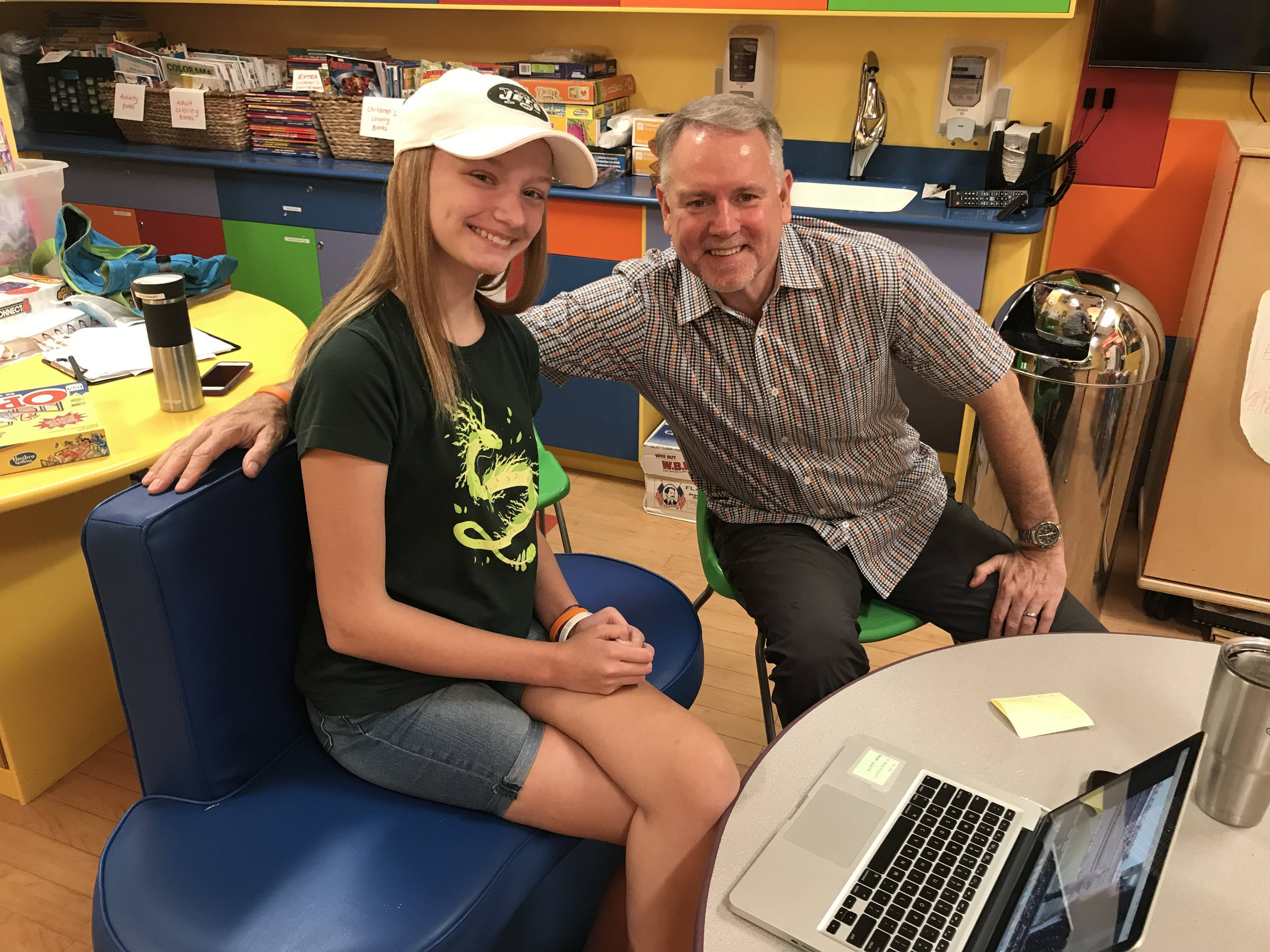 Anna and her Dad Mike at Goryeb Children's Hospital