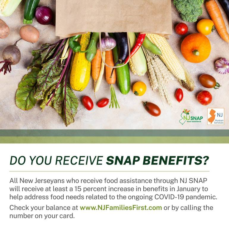 NJ SNAP Recipients to Receive at Least a 15 Percent Increase in Food Assistance Benefits in January