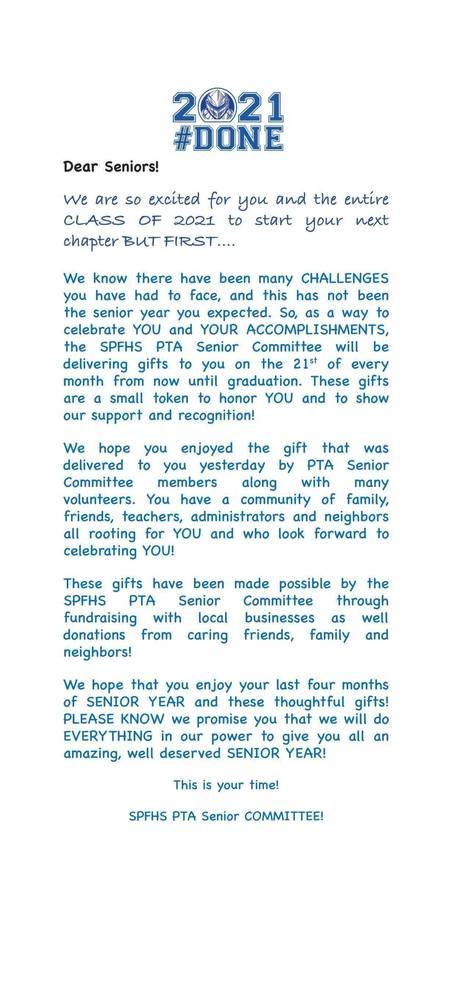 Letter that went to Scotch Plains-Fanwood High School seniors.