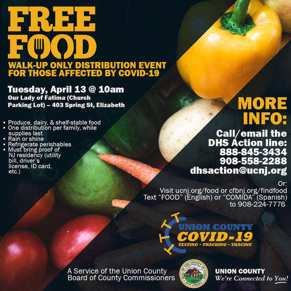 Plainfield is One of Union County Emergency Food Distribution Sites in April