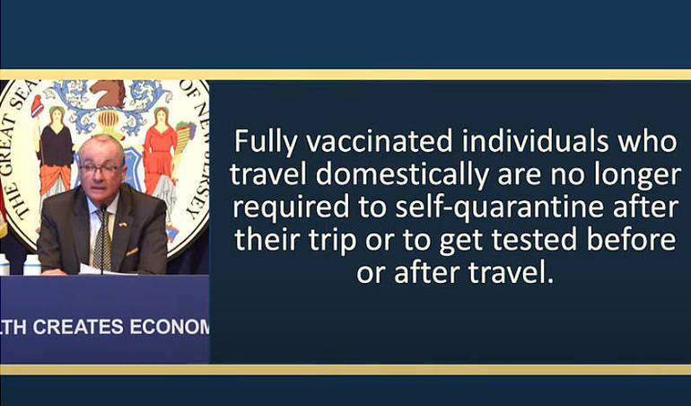 Murphy: Vaccinated People Can Travel Without Quarantine