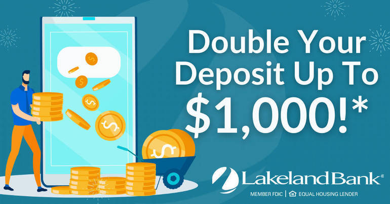 Double Your Deposit Sweepstakes Announced by Lakeland Bank