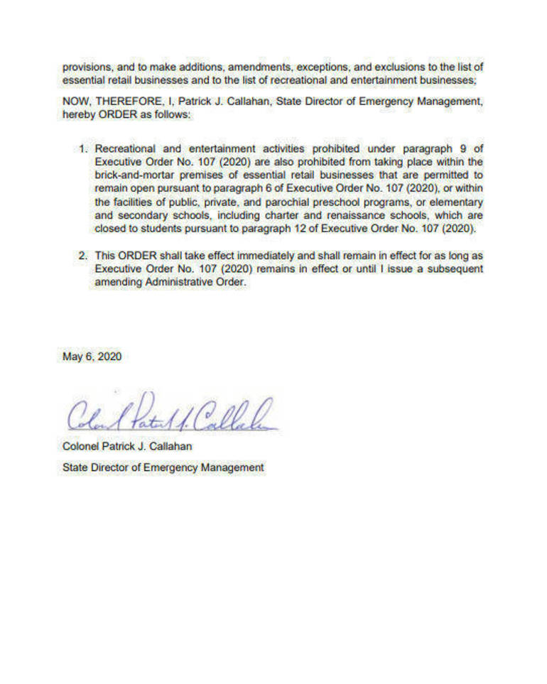 Letter from State Police Col. Patrick Callahan to NJ school districts advising against graduation ceremonies and parades.