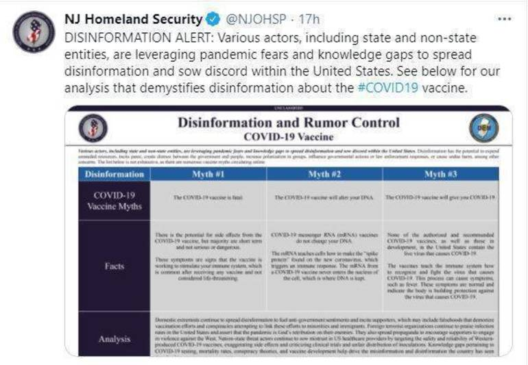 NJ Homeland Security Warning of False Information Spread About COVID-19 Vaccines