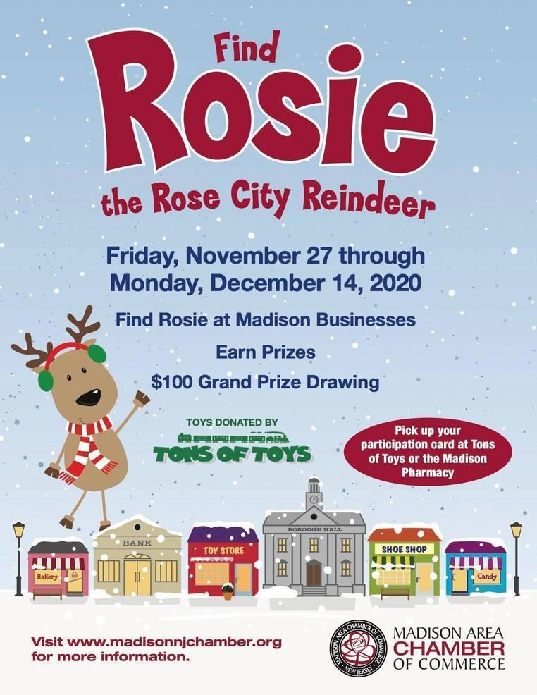 """Rosie the Rose City Reindeer' Kids Scavenger Hunt Begins Nov. 27 in Downtown Madison"
