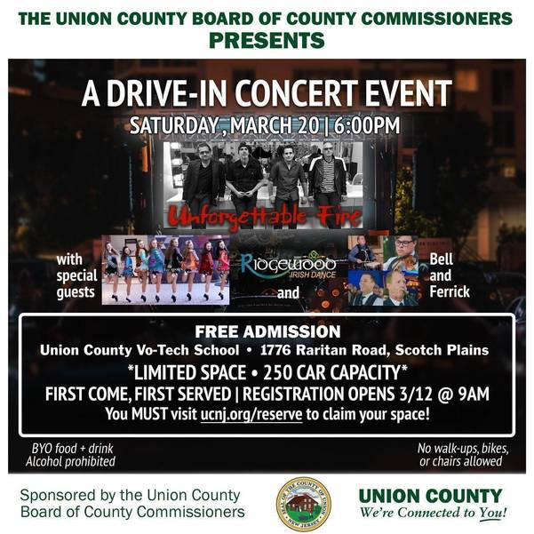 Union County Celebrates St. Patrick's Day with Free Drive-In Concert Featuring U2 Tribute Band Unforgettable Fire