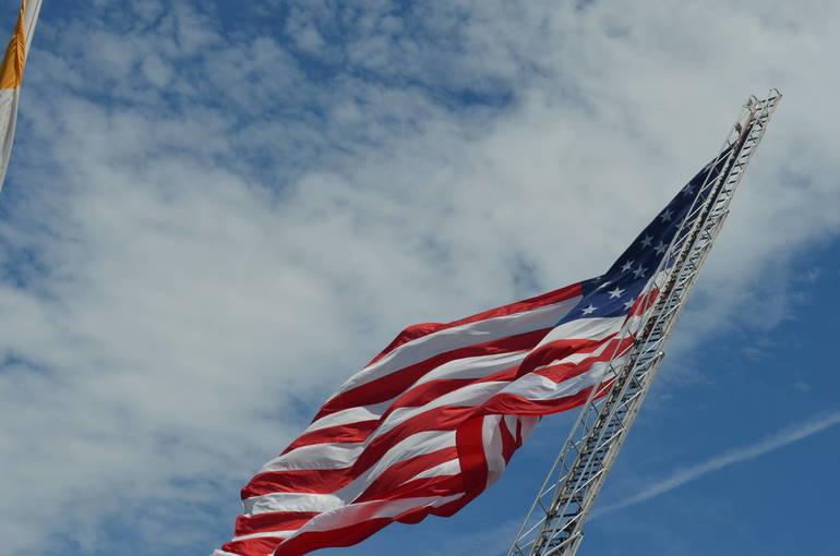 American flag flown from a Scotch Plains fire truck
