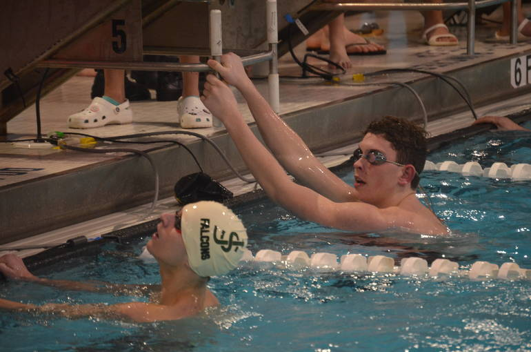 Nathan Borges of Piscataway (right) wins the 200 Freestyle. Dan Badaway, Saint Joseph (Met.), finished second.