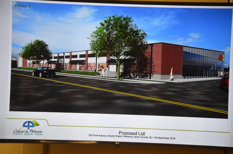 Lidl rendering shown on the screen at Tuesday's Scotch Plains Council meeting.
