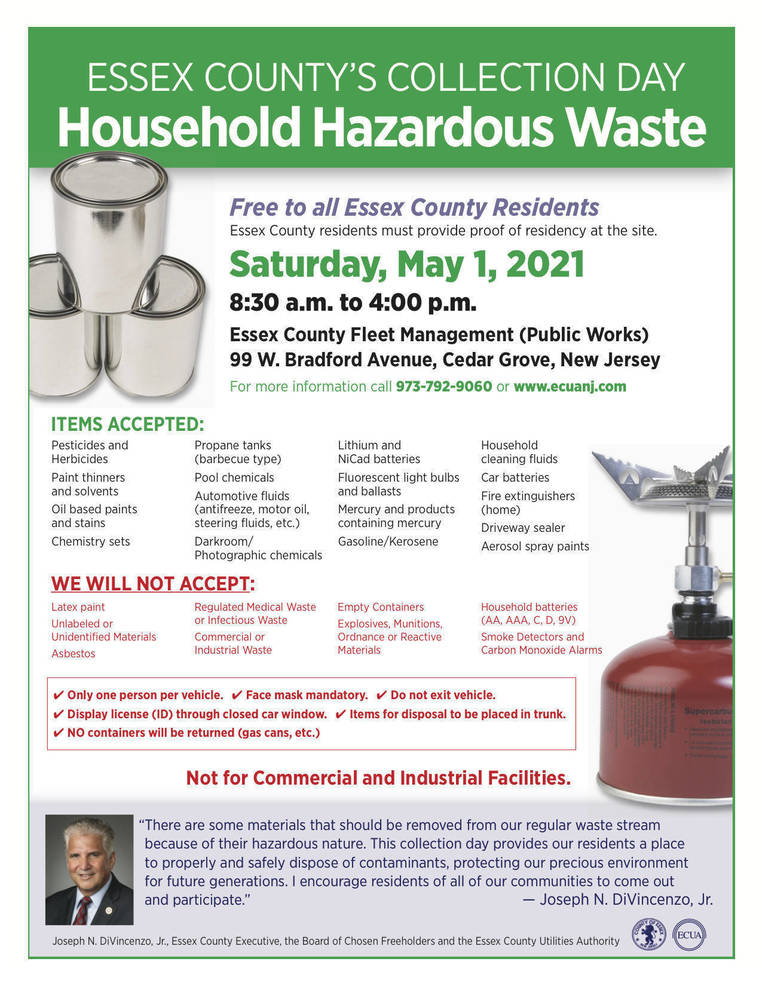 Essex County Hazardous Household Waste Collection Day on May 1