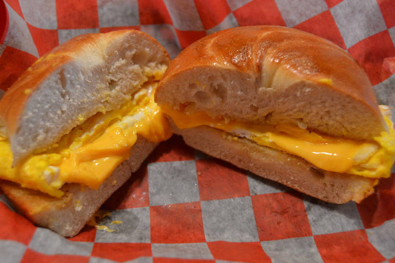 Egg & cheese on a Brooklyn bagel at The Fanwood Grille