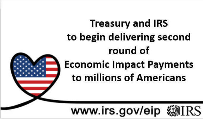 Treasury and IRS begin delivering second round of Economic Impact Payments to millions of Americans