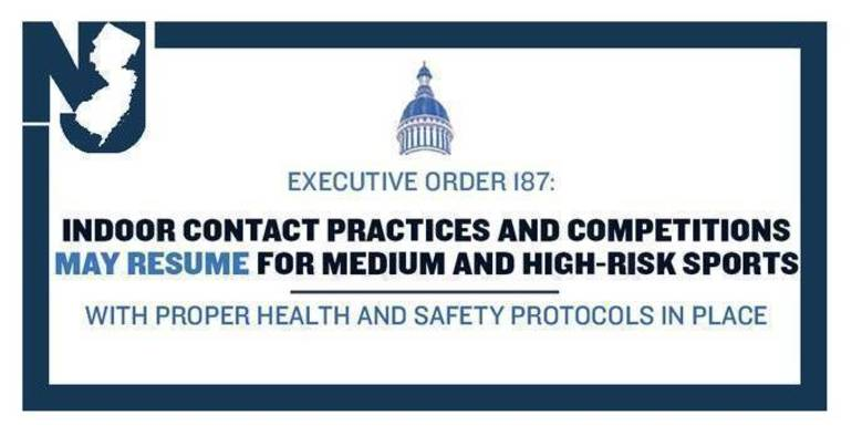 Governor Murphy Signs Executive Order Allowing the Resumption of Contact Practices and Competitions for Certain Organized Sports in Indoor Settings