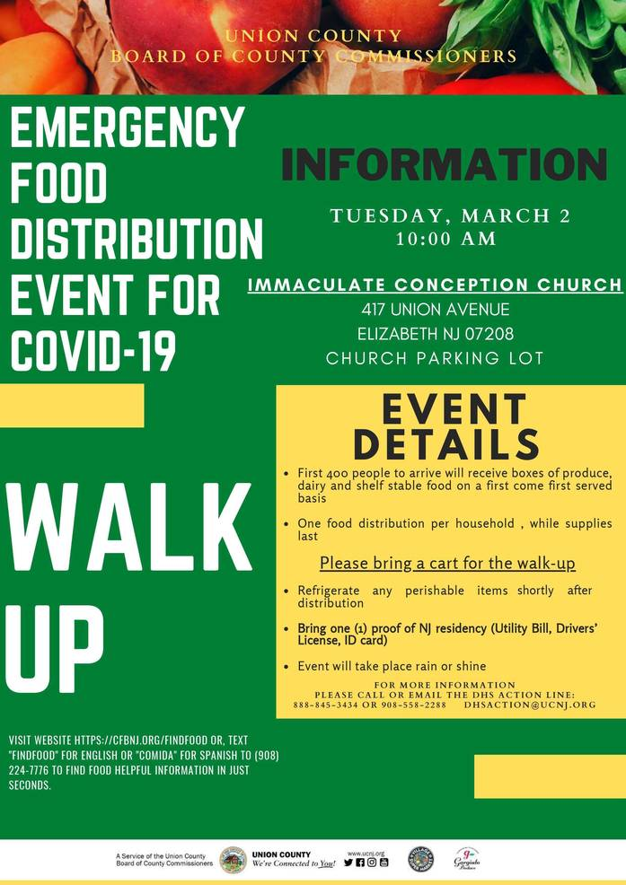 Union County Commissioners Announce COVID-19 Emergency Food Distribution for March 2