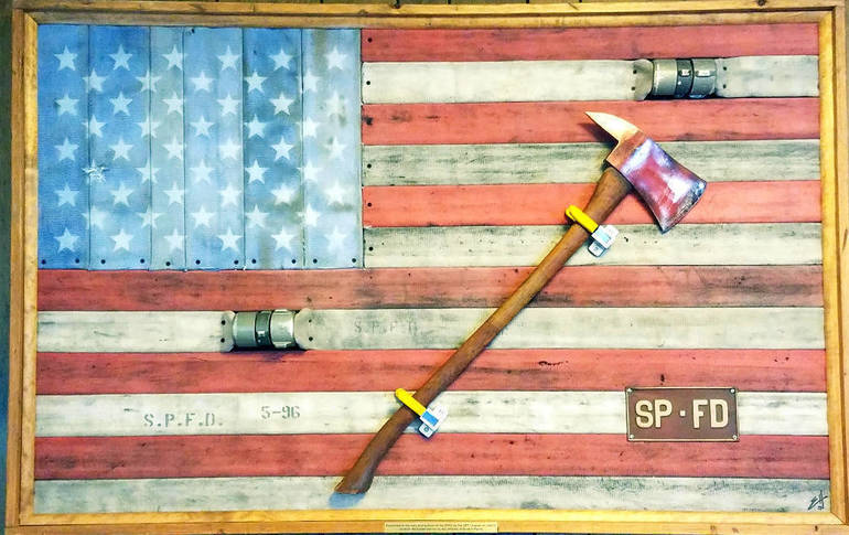 Scotch Plains resident Ernie Hernandez, a firefighter and retired SPPD policeman, makes unique flag art pieces.