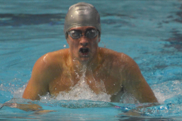 Ethan Morrobel swam the 200 IM for Scotch Plains-Fanwood High School at the Union County championships.