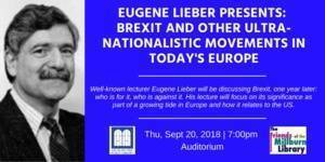 Eugene Lieber Presents At Millburn Library: Brexit One Year Later