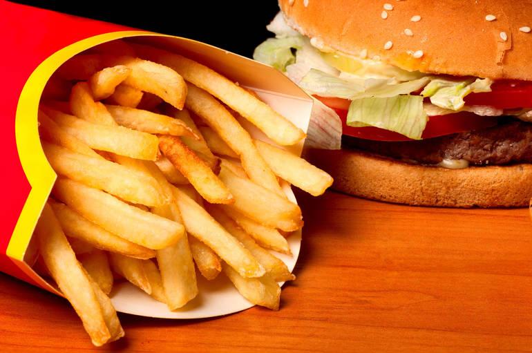 fast food burger fries
