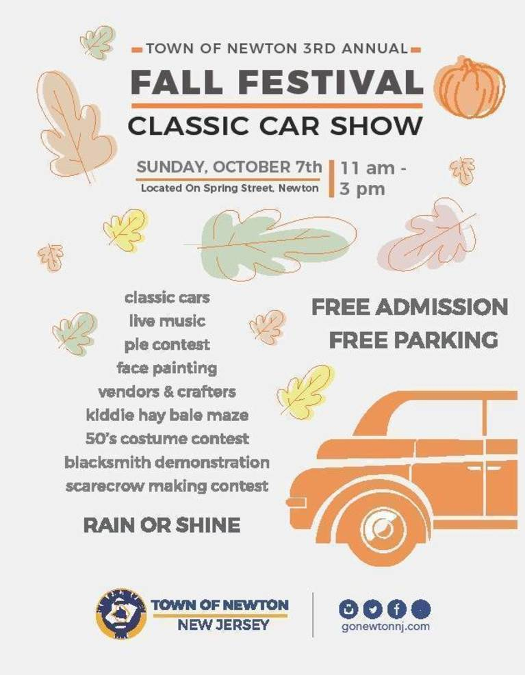 Third Annual Newton Fall Festival to Include Classic Car Show
