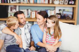 family parents children talking