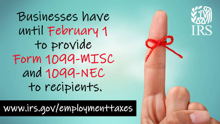 Businesses have Feb. 1 deadline to provide Forms 1099-MISC and 1099-NEC to recipients