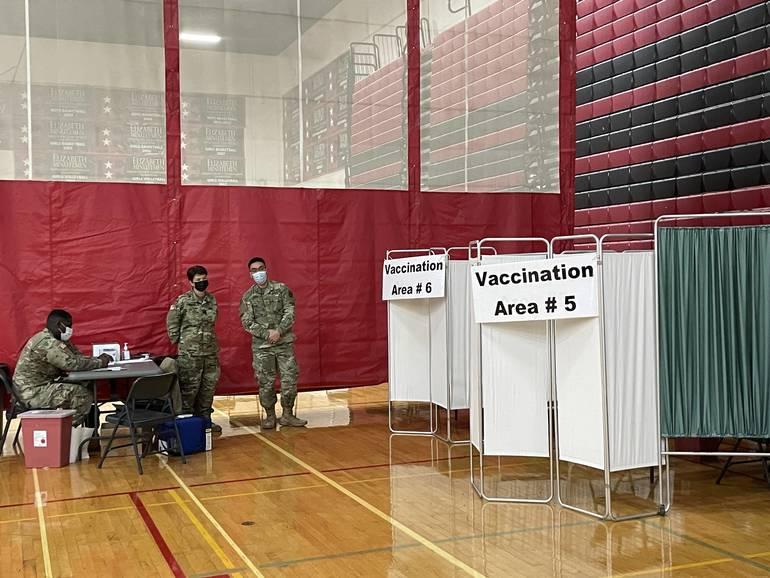 The FEMA vaccine site in Elizabeth is seen earlier this week.