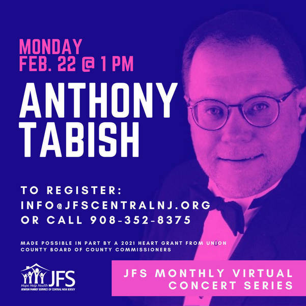 JFSCNJ HEART Grant Virtual  Concert Series to Begin February 22 @ 1 PM