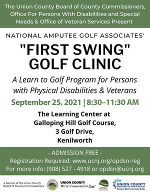 """""""First Swing"""" Free Golf Clinic for People with Physical Disabilities and Veterans at Galloping Hill Golf Course, Sept. 25"""