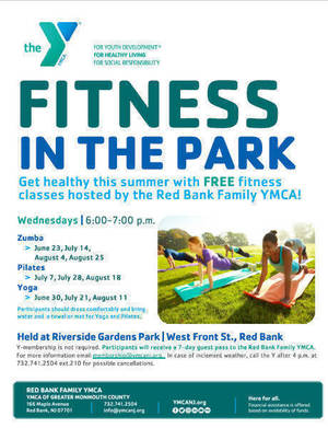 Every Wednesday in Red Bank Free Fitness in the Park Sponsored by the YMCA - It's Pilates Week!