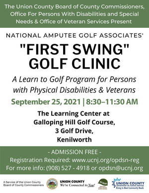 """Galloping Hill Golf Course in Kenilworth to Host """"First Swing"""" Free Golf Clinic for People with Physical Disabilities and Veterans"""