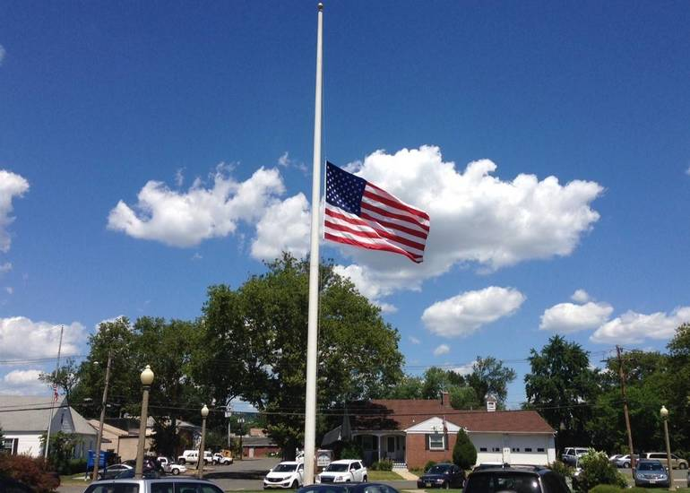 U.S. and State Flags Flown at Half Staff Today in Morristown
