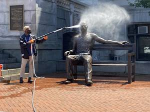 George Floyd Statue at Newark City Hall Defaced One Week After Unveiling