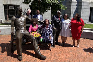 Statue Commemorating George Floyd Unveiled at Newark City Hall