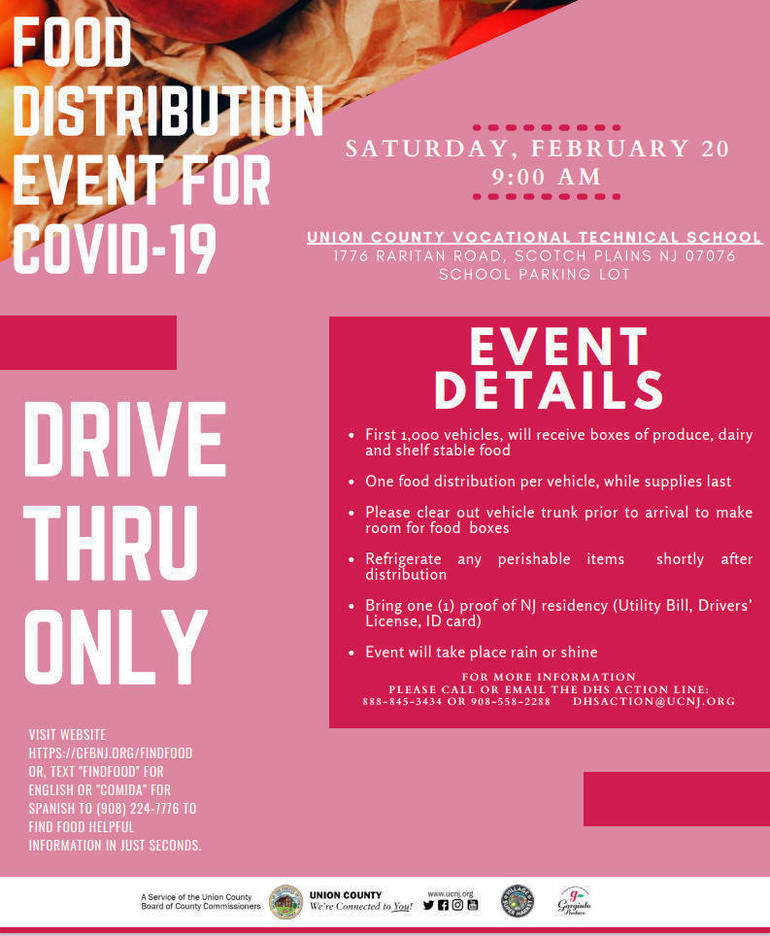 COVID-19 Emergency Food Distribution in Scotch Plains on Feb. 20