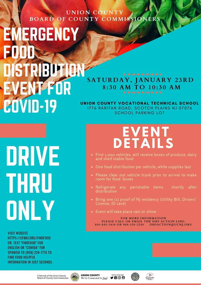 County Announces COVID-19 Emergency Food Distribution at VoTech in Scotch Plains on Sat, Jan. 23