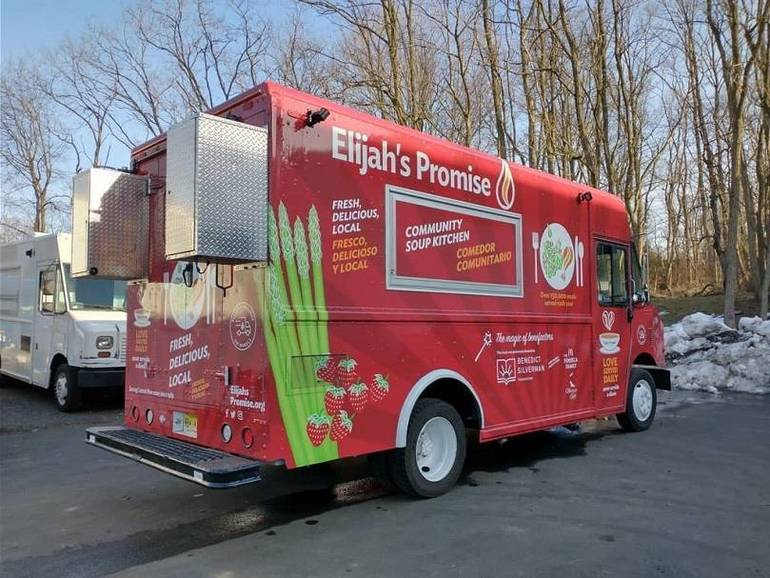 New Food Truck from Elijah's Promise  Serves Hot Meals at East Brunswick's Food Bank