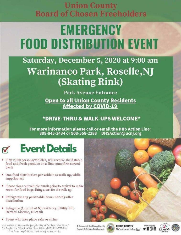 COVID-19 Emergency Food Distribution at Warinanco Park in Roselle on Sat, Dec. 5