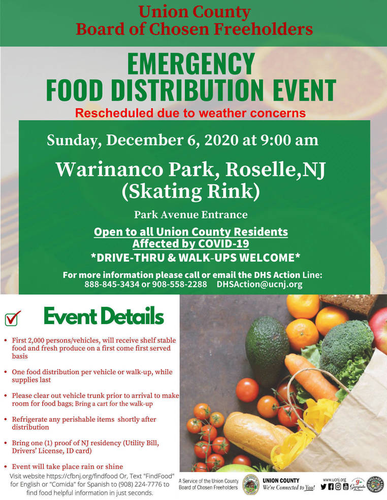 Emergency Food Distribution Rescheduled for December 6 in Roselle