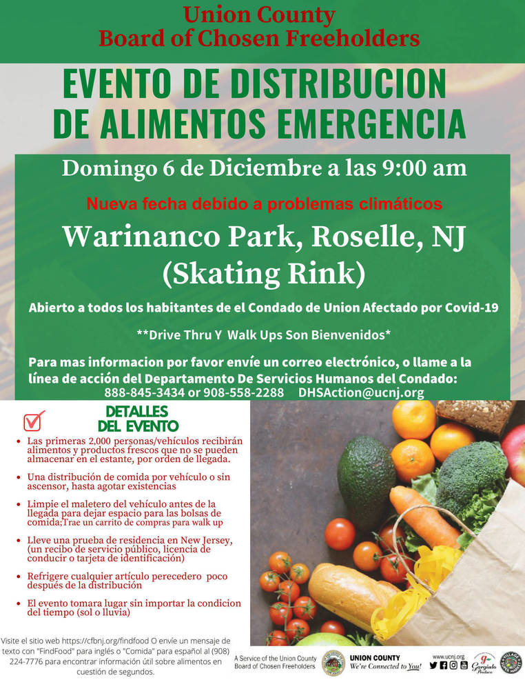 Union County COVID-19 Emergency Drive-Up and Walk-Up Food Distribution Rescheduled for December 6