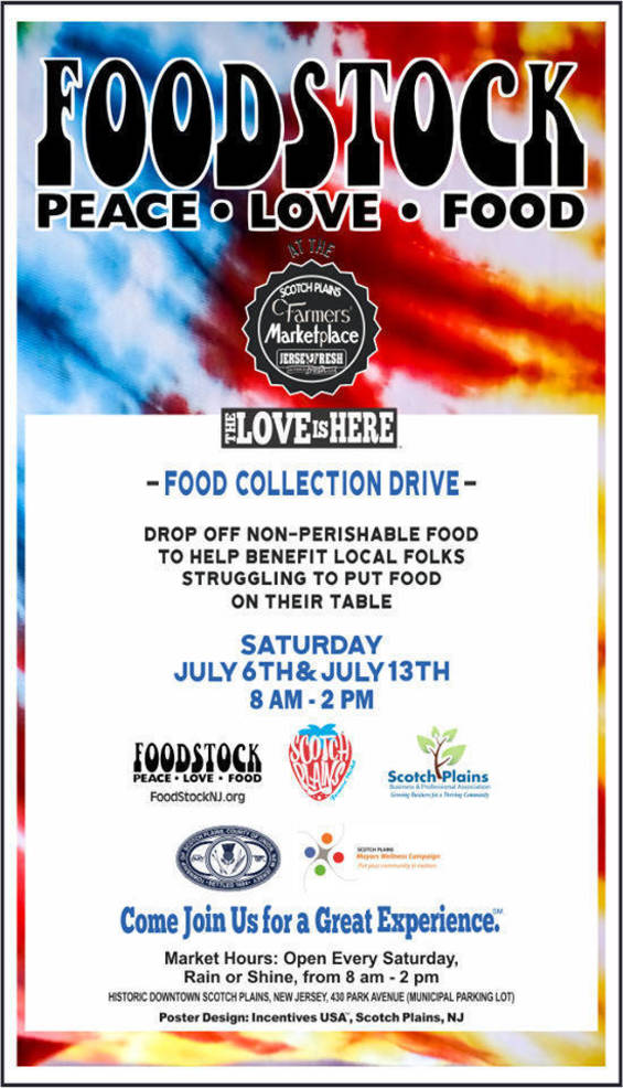 FOODSTOCK Collections Extended Until July 17 in Scotch Plains to Help the Hungry