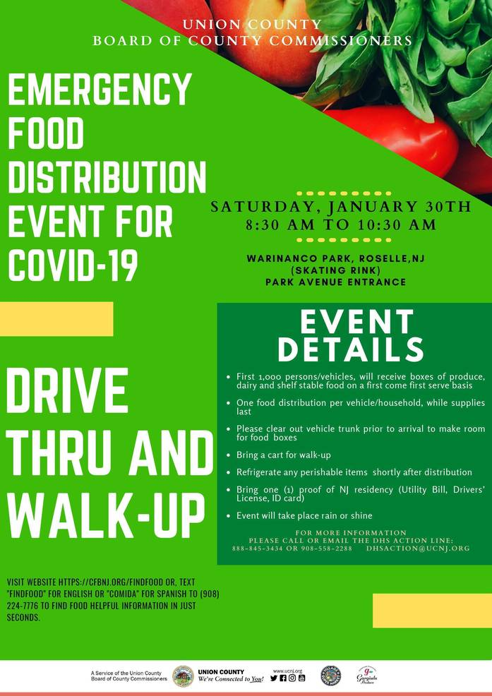 Union County Commissioners Announce Three COVID-19 Emergency Food Distributions for January