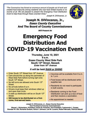 Emergency Food Distribution Event and COVID-19 Vaccination Event on June 10 at Essex County West Side Park